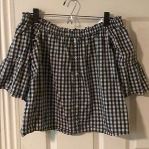 A&F gingham off the shoulder blouse.